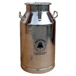 Bidon inox 40 litri cu maner si prindere cu clipsuri si capac inox