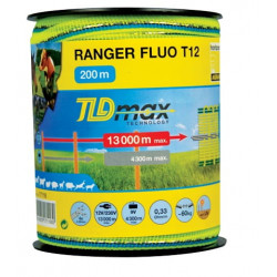 Banda 200m RANGER FLUO T12-O latime 12mm cu 4 fire de 0.22mm, forta rupere 60kg, rezistenta electrica 0.33 ohm/m