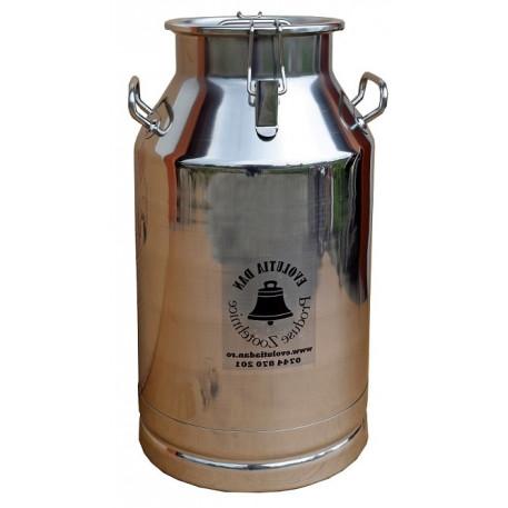 Bidon inox 50 litri cu maner si prindere cu clipsuri si capac inox