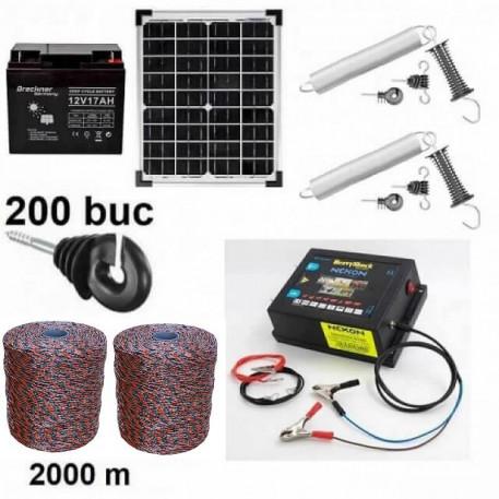 Pachet  gard electric 2000m 6.6J 130kg + Acumulator 12V + Panou solar 30W