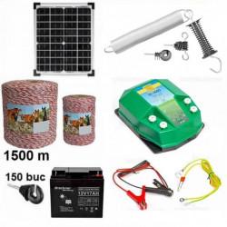 Pachet  gard electric 1500m 4.5J + Acumulator 12V + Panou solar 30W