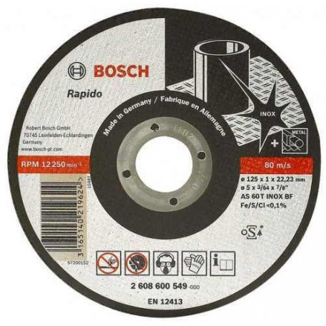 Disc taiere inox si metal 125x2 mm BOSCH 2608600094
