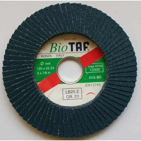 Disc lamelar 125x22,2 mm Gr80 pentru inox TAF-Italia