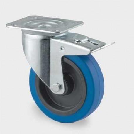Roata pivotanta din poliamida cu frana 125 mm - 250 kg TENTE 3477UFR125P62 blue