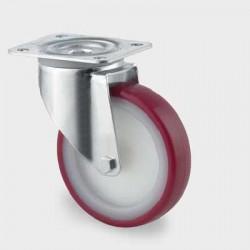 Roata din poliamida pivotanta  80 mm - 100 kg TENTE 3470UAR080P62 red