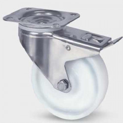 Roata pivotanta cu frana poliamida 80 mm cu furca inox - 200 kg TENTE 8477UOO080P62