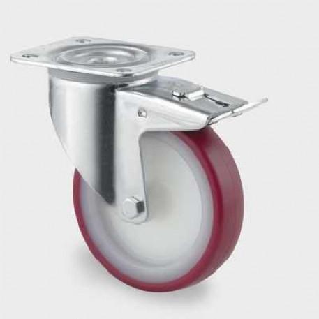Roata pivotanta din poliamida cu frana 160 mm - 350 kg TENTE 3477UAR160P63 red